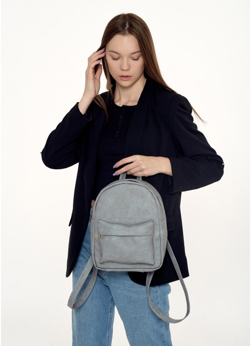 Жіночий рюкзак Sambag Brix KSH світло-сірий нубук