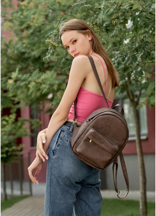Жіночий рюкзак Sambag Brix KSH коричневий нубук