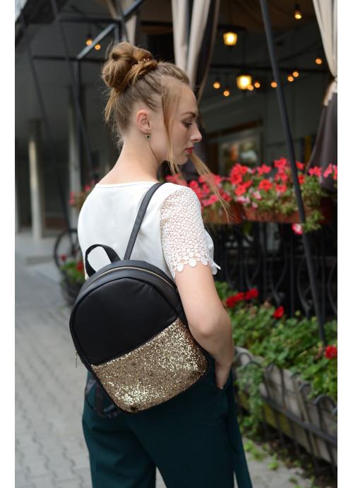 Жіночий рюкзак Sambag Este MEH чорний з блискітками