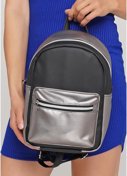 Жіночий Рюкзак Sambag Talari MSSP комбінація чорного з металіком