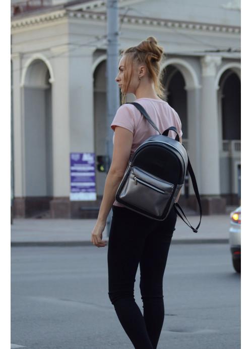 Жіночий Рюкзак Sambag Talari BSSP комбінація чорного з металіком