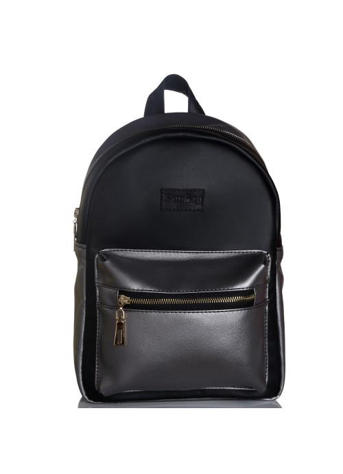 Жіночий рюкзак Sambag Talari LSG комбінація чорного з металіком