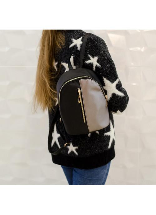 Рюкзак малий Sambag Mane MQG комбінація чорного з металіком