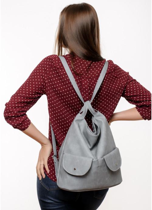 Жіночий рюкзак Sambag Asti XKH світло-сірий нубук