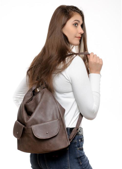 Жіночий рюкзак Sambag Asti XKH світло-коричневий нубук