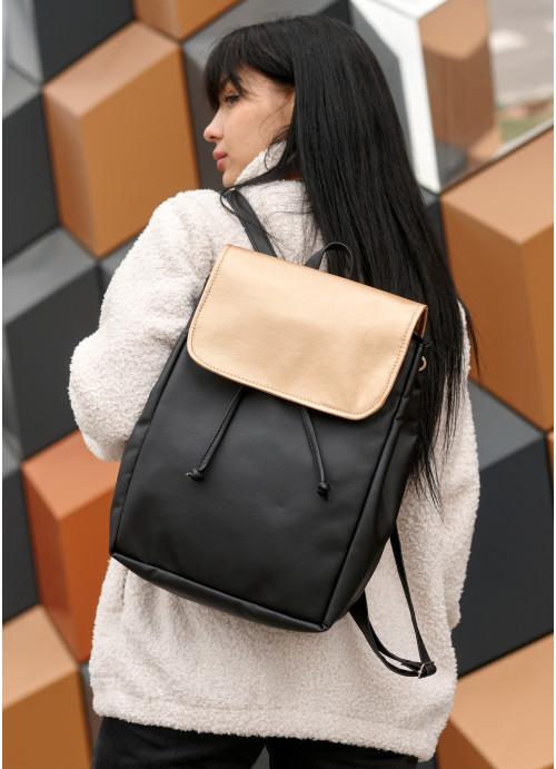 Жіночий рюкзак Sambag Loft LZN чорний з золотим