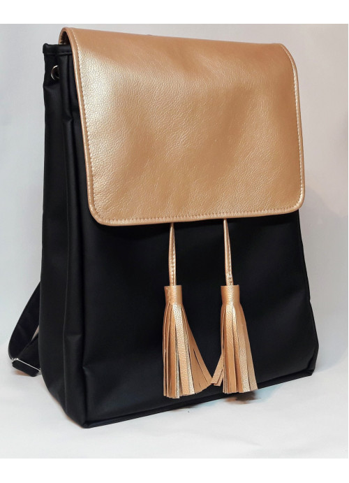 Жіночий рюкзак Sambag Loft LZNe чорний з золотим