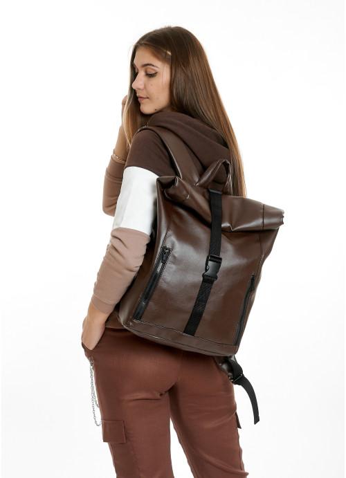 Жіночий рюкзак ролл Sambag RollTop LZT шоколадний