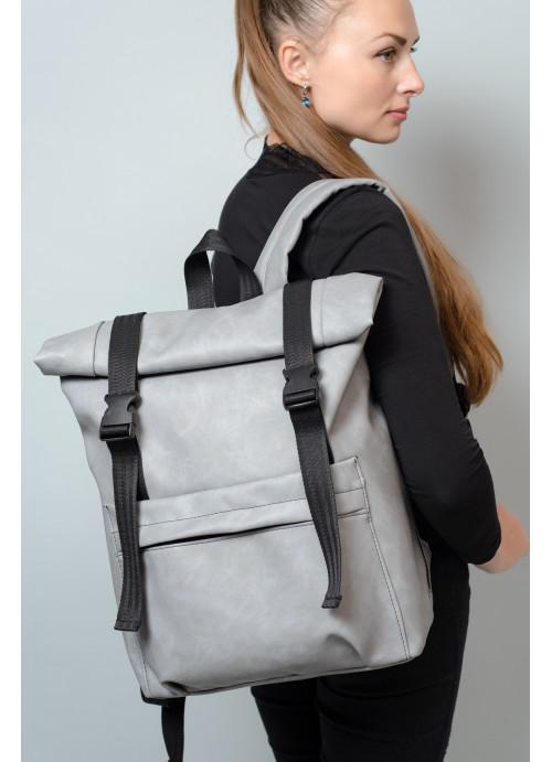 Жіночий рюкзак ролл Sambag RollTop LSH світло-сірий нубук