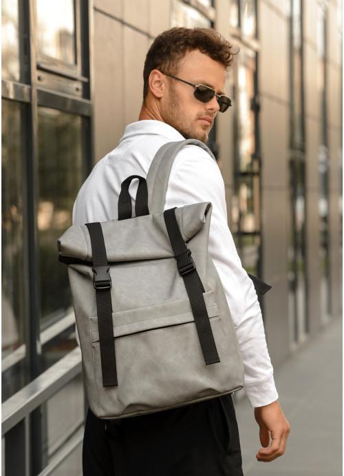 Чоловічий рюкзак ролл Sambag  RollTop LSHm світло-сірий нубук
