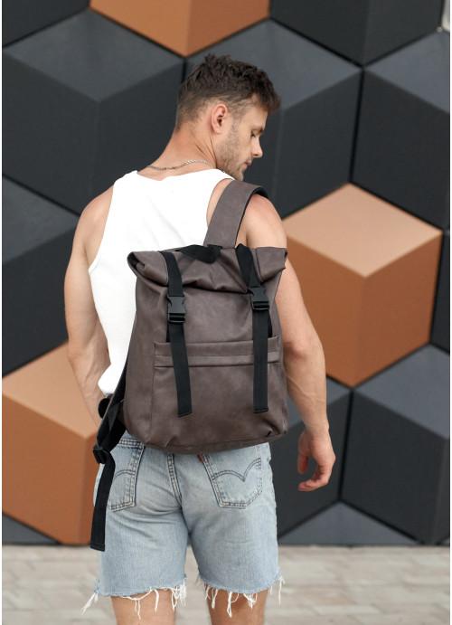 Чоловічий рюкзак  ролл Sambag RollTop BSH світло-коричневий нубук