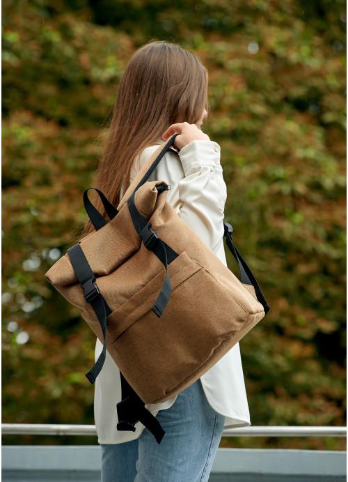Жіночий рюкзак ролл Sambag  RollTop LSH Коричневий тканевий