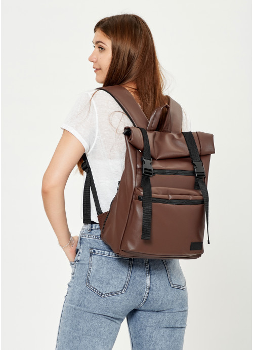 Жіночий рюкзак ролл Sambag RollTop LTT шоколадний