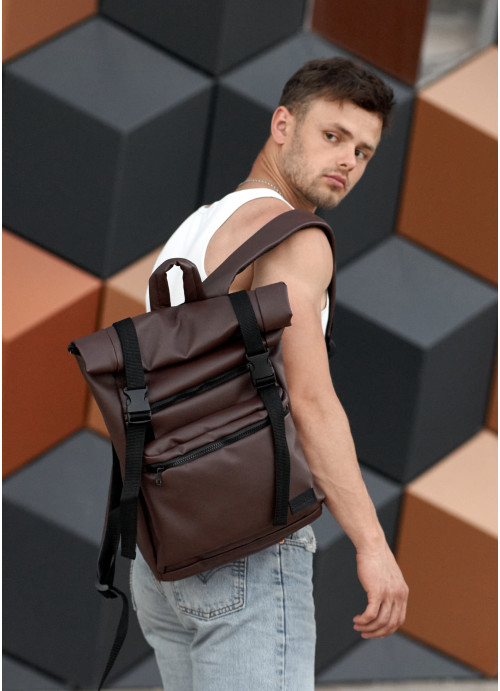 Чоловічий рюкзак ролл Sambag  RollTop LTT шоколадний