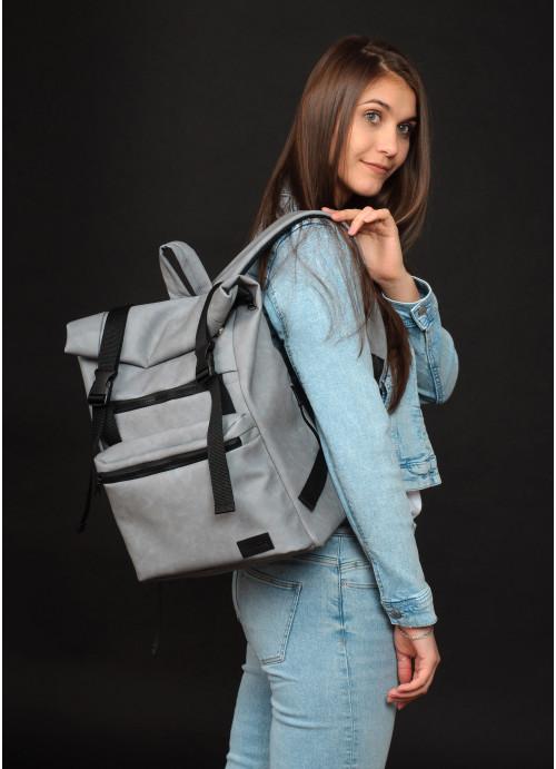 Рюкзак ролл Sambag унісекс RollTop LTT світло-сірий нубук
