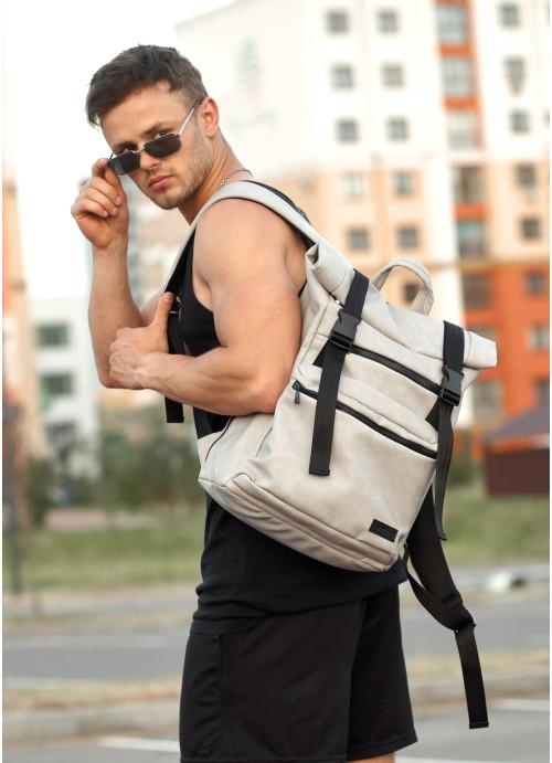 Чоловічий рюкзак ролл Sambag RollTop LTT світло-сірий нубук