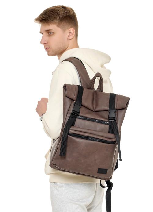 Чоловічий рюкзак ролл Sambag RollTop LTT світло-коричневий нубук