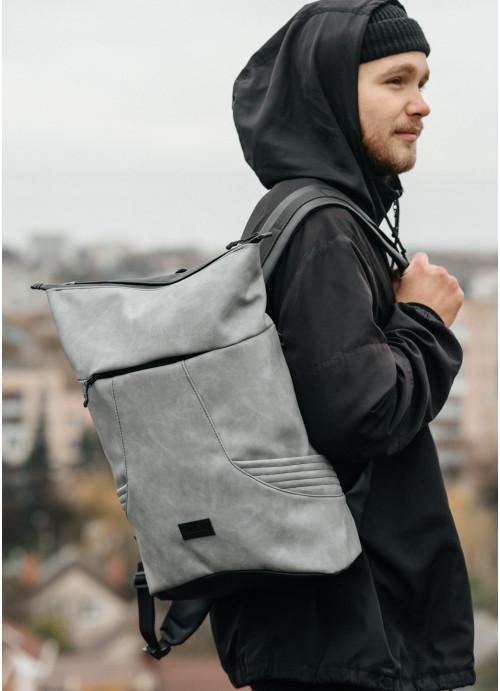 Чоловічий рюкзак ролл Sambag  RollTop KQN світло-сірий нубук