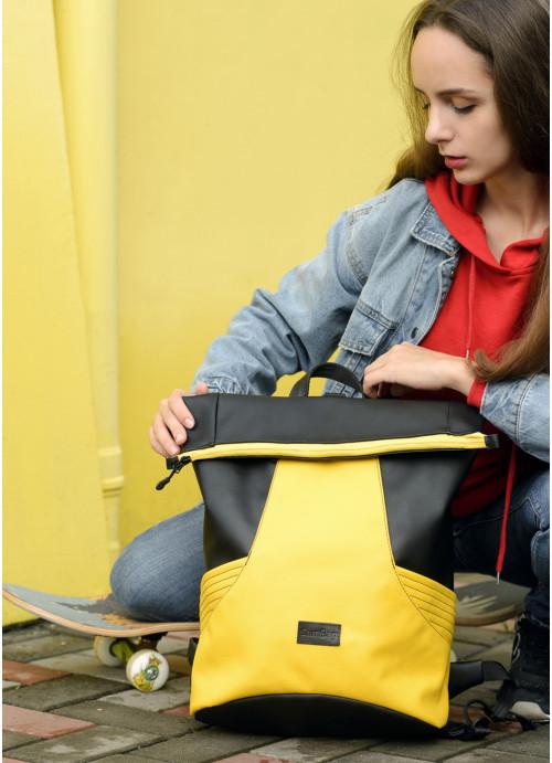 Рюкзак ролл Sambag RollTop MQN Чорний з жовтим