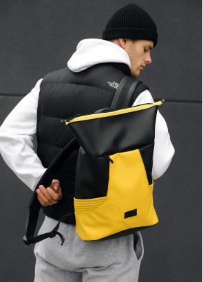 Чоловічий рюкзак ролл Sambag RollTop MQN Чорний з жовтим