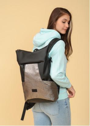 Рюкзак ролл Sambag RollTop MQN Чорний з битим сріблом