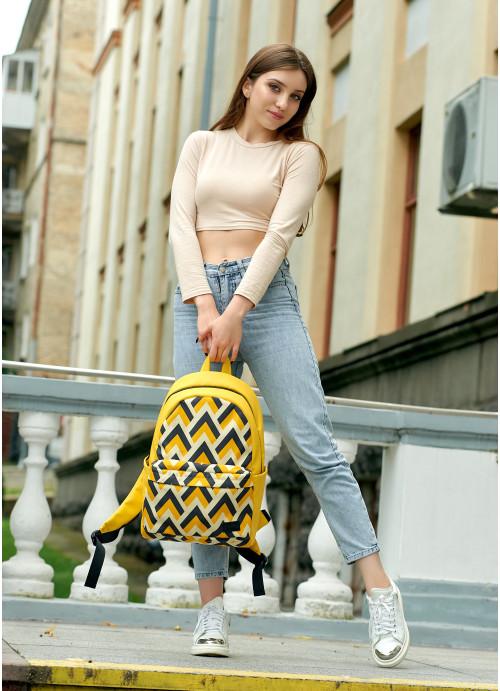 Жіночий рюкзак Sambag Zard LST Жовтий з орнаментом