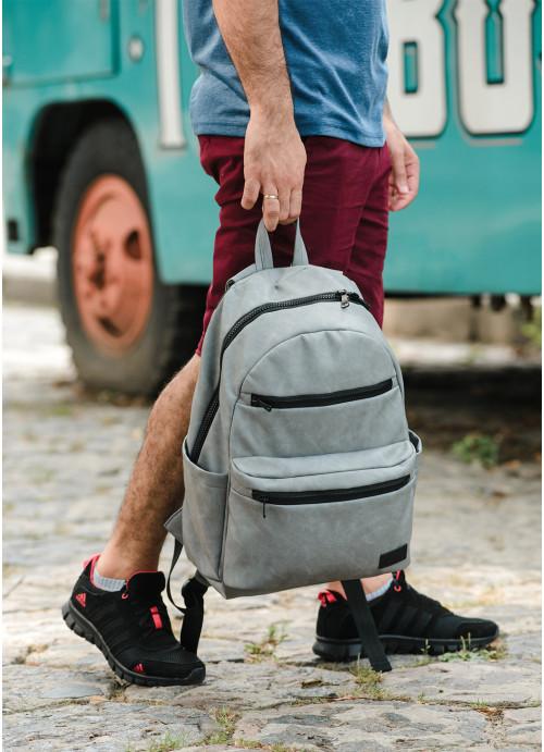Чоловічий рюкзак Sambag Zard LKT світло-сірий нубук