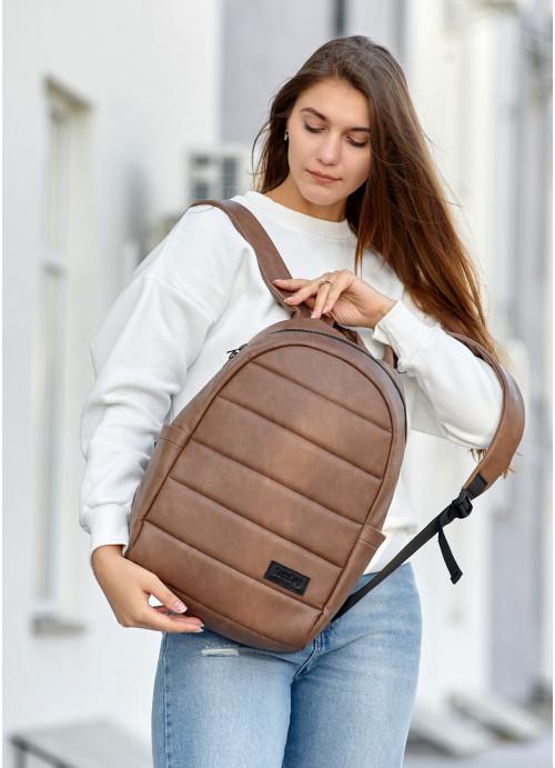 Жіночий рюкзак  Sambag Zard LRT світло-коричневий нубук
