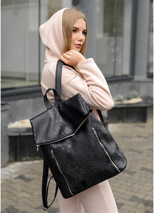 Жіночий рюкзак Sambag Rene LZS Принт крокодила