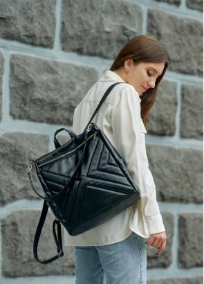 Жіночий рюкзак-сумка Sambag Trinity строчений black