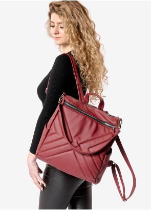 Жіночий рюкзак-сумка Sambag Trinity строчений бордо