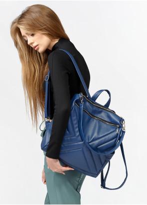Жіночий рюкзак-сумка Sambag Trinity строчений темно-синій
