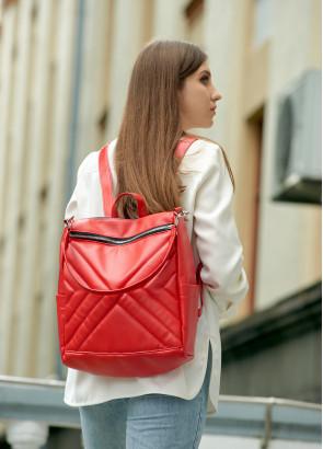Жіночий рюкзак-сумка Sambag Trinity строчений червоний