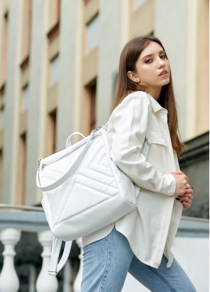 Жіночий рюкзак-сумка Sambag Trinity строчений білий