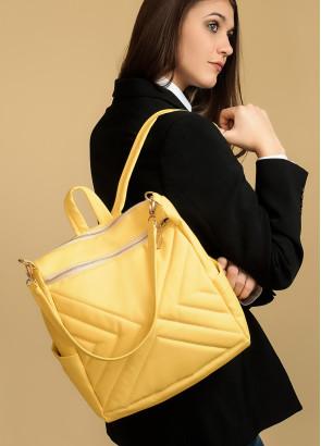 Жіночий рюкзак-сумка Sambag Trinity строчений жовтий