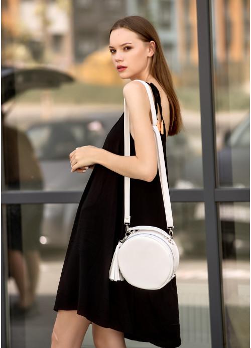 Жіноча кругла сумка Sambag Bale біла