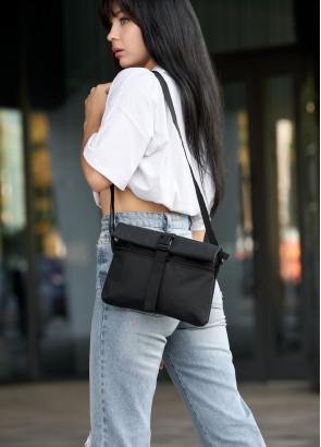 Жіноча сумка через плече мессенджер Sambag MZH чорний тканевий