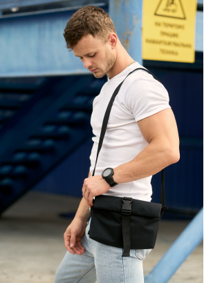 Чоловіча  сумка через плече мессенджер Sambag MZH чорний тканевий