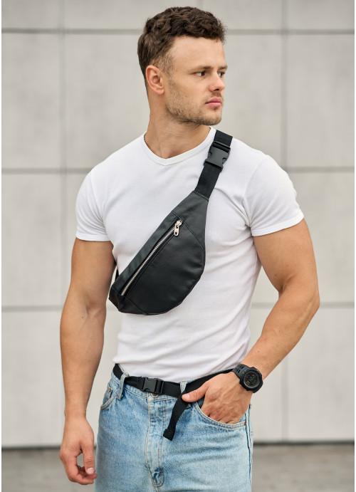 Чоловіча сумка на пояс бананка Sambag Soho BSSm чорна