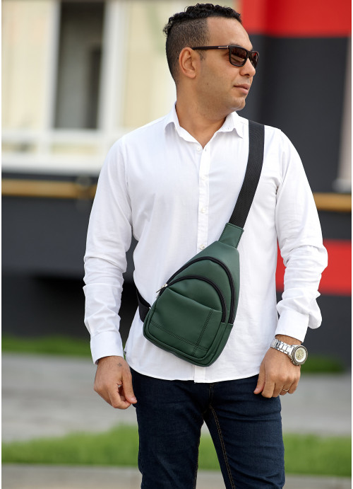 Чоловіча сумка слінг через плече  Sambag Brooklyn зелена