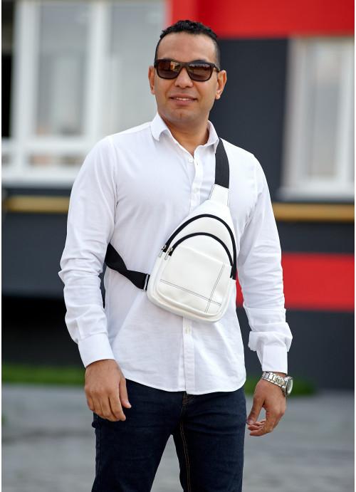 Чоловіча сумка слінг через плече Sambag Brooklyn біла
