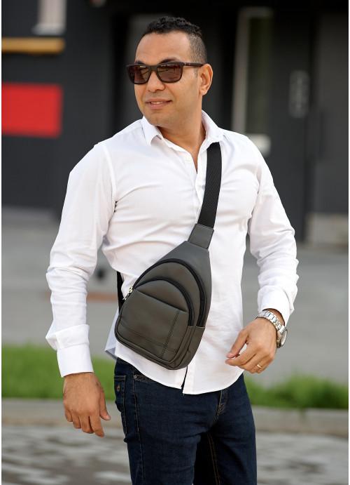 Чоловіча сумка слінг через плече  Sambag Brooklyn графітова