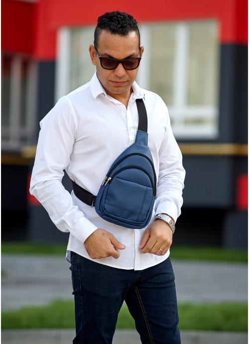 Чоловіча сумка слінг через плече Sambag Brooklyn темно-синя