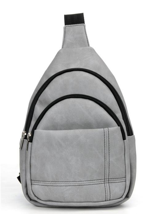 Cумка через плече слінг Sambag Brooklyn SSH світло-сірий нубук