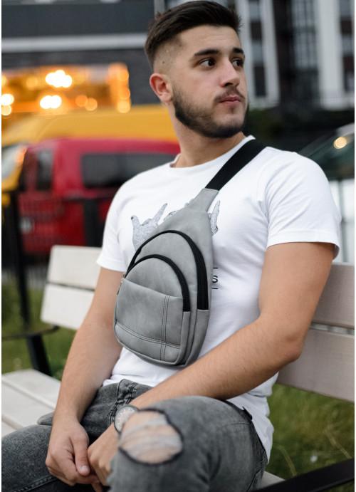 Чоловіча сумка через плече слінг Sambag Brooklyn SSH світло-сірий нубук