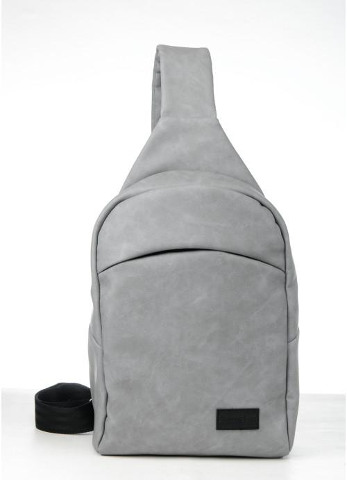 Cумка через плече слінг Sambag Brooklyn MQH світло-сірий нубук