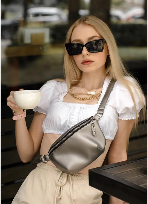 Жіноча сумка на пояс бананка Sambag Polo SQS silver dark