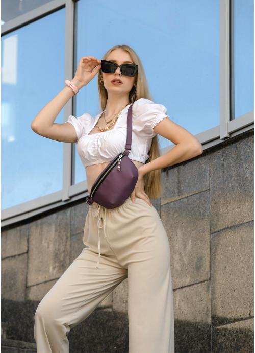Жіноча сумка на пояс бананка Sambag Polo  фіолетова