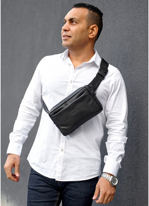 Чоловіча шкіряна сумка бананка  Sambag Harvi чорна