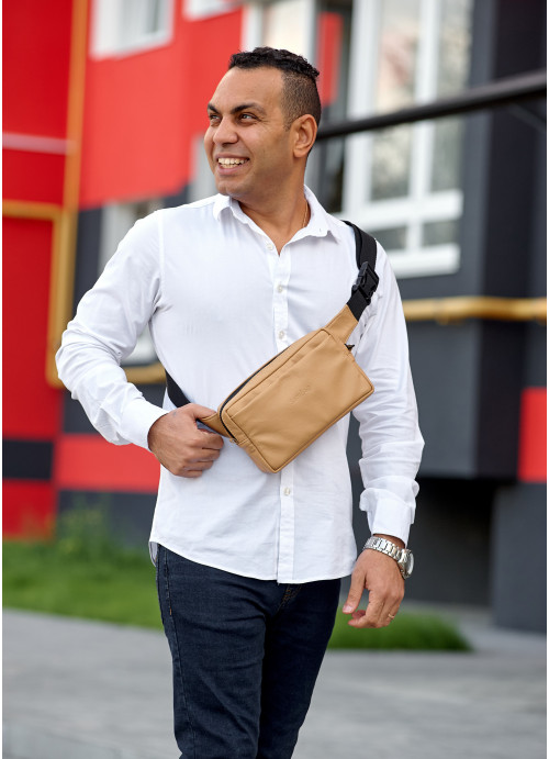 Чоловіча шкіряна сумка бананка  Sambag  0ST бежева